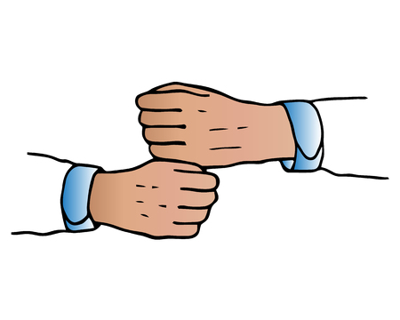 Two arms hands reaching to each other. Close up body part. Helping hand. Happy Valentines day. Flat design. Love soul gift concept Isolated. White background. Vector illustration Stock Vector - 113769251