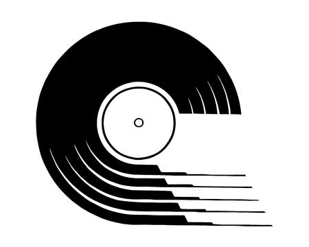 Vinyl-Schallplatten-Symbol. Einfache Illustration der Vinylaufzeichnungsvektorikone für das Webdesign lokalisiert auf weißem Hintergrund