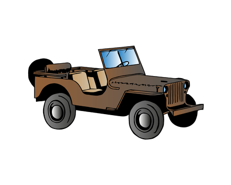 drawing off-road vehicle jeep khaki for design. Military jeep.
