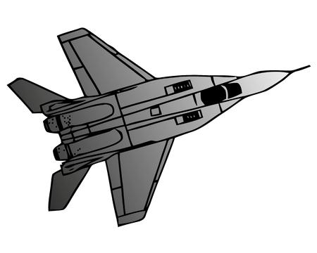 Military naval fighter jet aircraft, in flight, sharp vector Illustration  イラスト・ベクター素材