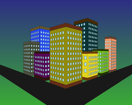 Building silhouette in the evening. Modern city design. Buildings on the blue dark sky background. Vector illustration. Illustration
