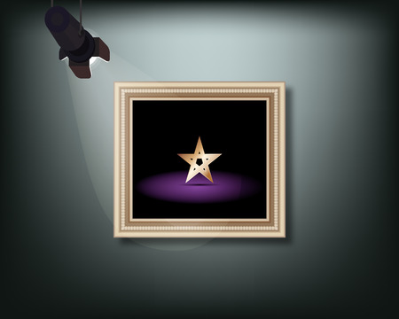 Framed image with pedant cone lamp on wall. Vector illustration.