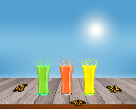 Smoothies, juices, beverages, drinks variety with fresh fruits on a wooden table. Vector illustration.