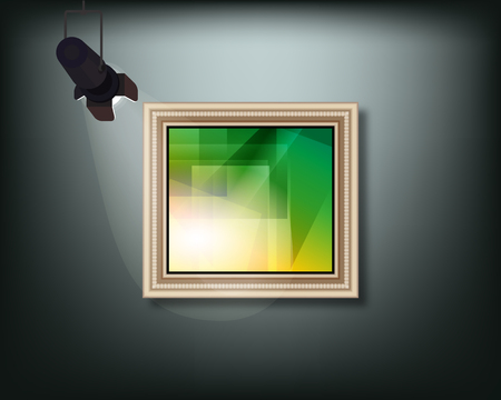 Framed image with pedant cone lamp on wall. 向量圖像