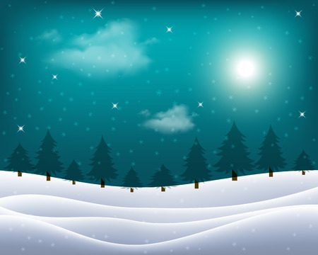 Vector wintry landscape with night sky and light moon