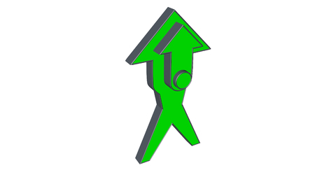 3D arrow model in the shape of a character indicating the direction. Banco de Imagens