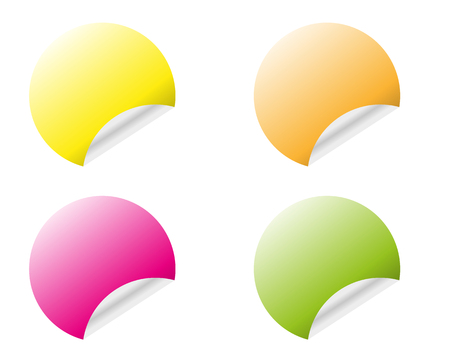 Round stickers with curled edge in different colors variants isolated on white background Illustration