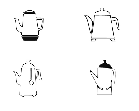 Kettle teapot icons set. Simple illustration of 6 kettle teapot logo vector icons for web Stock Illustratie