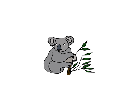 Cute Koala Bear Sitting on Tree Branch, Funny Grey Animal Character Vector Illustration