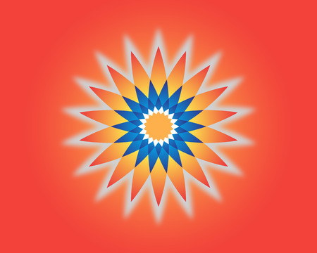 The color star on the red background. Vector illustration.