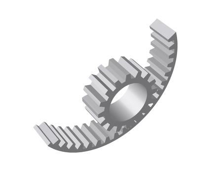Mécanisme d'engrenage à vis sans fin de vecteur isolé sur fond blanc. Vecteurs