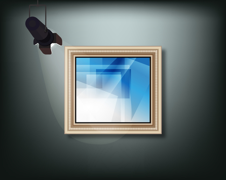 Framed image with pedant cone lamp on wall. Vector illustration. 版權商用圖片 - 121843242