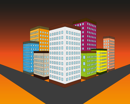 Set of vector flat style facades of panel houses. Classic blocks of flats architectural symbols and design elements. Collection for product promotion and advertising isolated on colored background