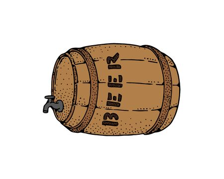 Wooden barrel with a tap, sketch style vector illustration isolated on white background. Side view of a classical wooden barrel with beer. Ilustrace