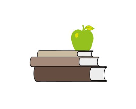 Apple on top stack books white background illustration vector. Education concept. Ilustracja