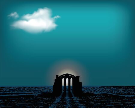Front view of an antique greek temple. The ancient temple in the dar sea. Vector flat illustration.