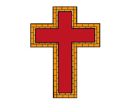 Red drawing of christian cross in doodle cartoon style. Vector illustration. Hand drawn christian cross, isolated.