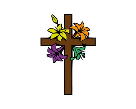 The illustration in stained glass style painting on religious themes, stained glass window in the shape of a Christian cross decorated with flowers isolated on white background.