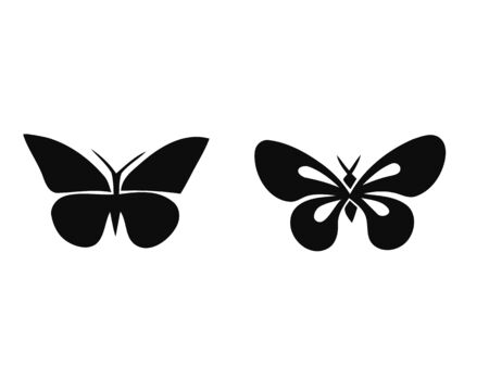 Butterfly silhouette set. Vector. Butterflies icon collection. Isolated on white background. Stock Illustratie