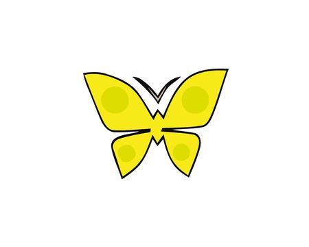 Hand-drawn butterfly with a hearts shape wings. Vector symbol