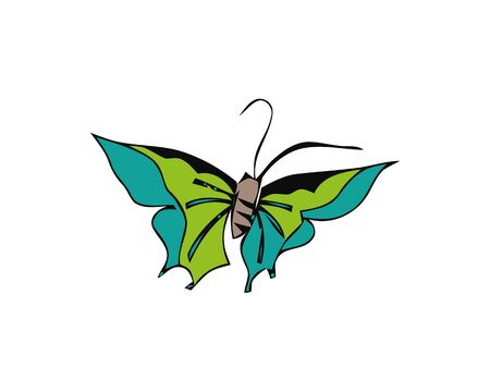 Butterfly continuous line drawing elements set isolated on white background for logo or decorative element. Vector illustration of different insect forms in trendy outline style.