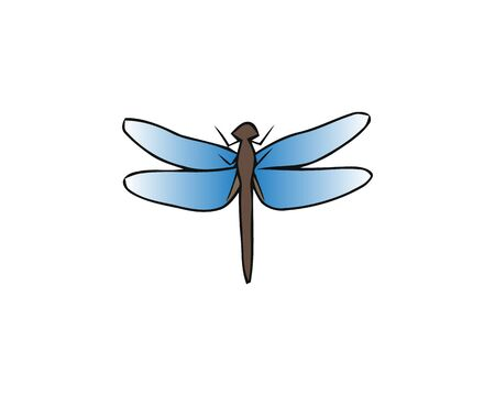 Watercolor drawing dragonfly. Vector greeting background with beautiful watercolor dragonfly. Abstract Paint Decoration. Hand drawn brush strokes. Vector Illustration. Stockfoto - 129220128