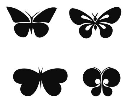 Set of butterflies silhouettes on white background. Vector illustration Stock Illustratie