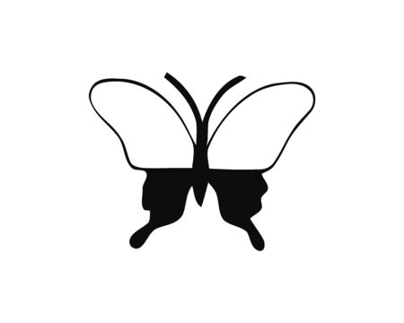 Silhouette of a butterfly on a white background 일러스트