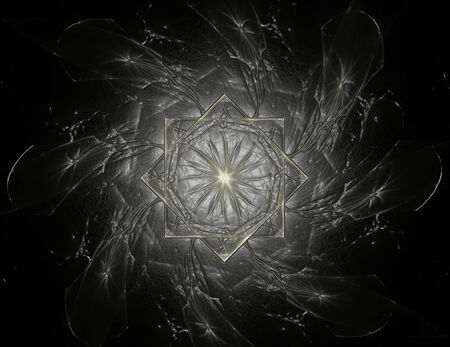 Computer generated fractal artwork for creative design, art and entertainment. Background with rotating spheres.