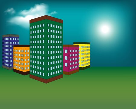 Vector illustration of night city with buildings, clouds and moon at the sky. Cityscape background in flat style. Skyline silhouette with yellow windows. Night view for banner, web design. Ilustração
