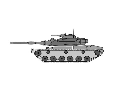 Military tank isolated on white. Armoured fighting vehicle designed for front-line combat, with heavy firepower, strong armour, tracks providing good battlefield manoeuvrability. Vector in flat style Imagens - 133516871