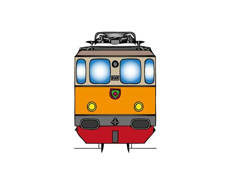 Color Tram and railway icon isolated on white background. Public transportation symbol. Gradient random dynamic shapes. Vector Illustration