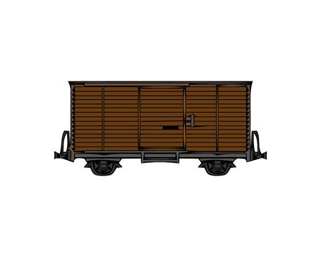 Cargo Wagon, Rail Car. Flat Vector Icon illustration. Simple colour symbol on white background. Cargo Wagon, Rail Car sign design template for web and mobile UI element.