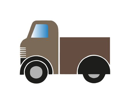 Truck icon vector. Delivery van, service concept, Minimalistic sign isolated on white background. Trendy Flat style for graphic design.
