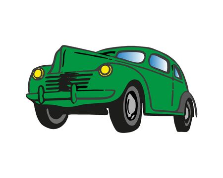 Retro car. Green color. Front view. The silhouette of the car. Perfect for execution sites and interfaces programs in retro style or hipsters.