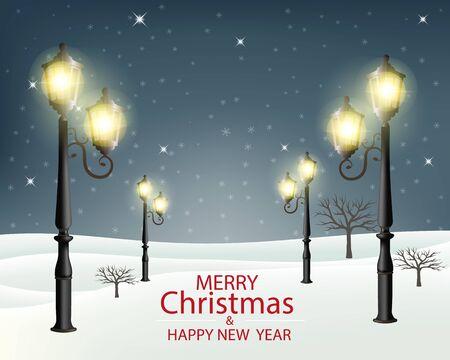 Christmas evening winter landscape with lampposts. Vector illustration. Vector Illustration