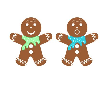 Gingerbread man group - isolated vector illustration on white background.