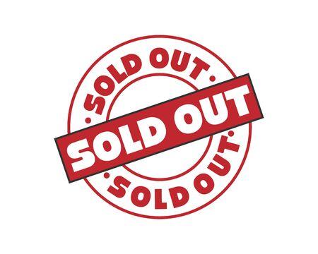 Uitverkocht Rubberstempel vectorillustratie op witte achtergrond. Rubberstempel verkocht. Opdruk uitverkocht. Rode verkochte zegel.