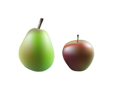 Ripe Apple and pear on transparent background, realistic vector, 3d illustration