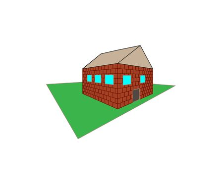 Isometric house. Cartoon home in isometric perspective. Color illustration isolated on a white background. Ilustração