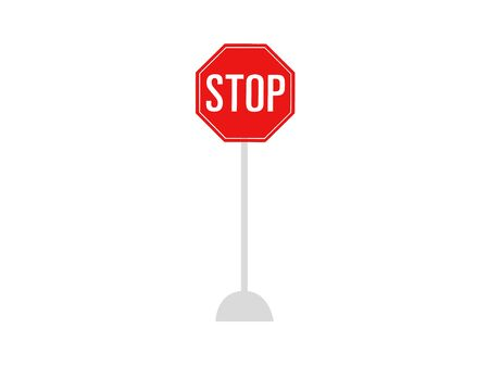 Red stop sign on white background. Traffic and road sign, vector graphics.