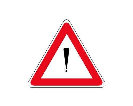 Road red sign on white background. Road traffic control. Lane usage. Regulatory sign. Stop and yield. Street