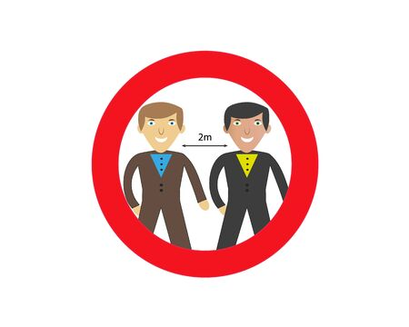 Protection against coronavirus Covid-19. Icon with red forbidden sign, avoiding physical contact and coronavirus infection. Vector illustration. Stockfoto - 142116619