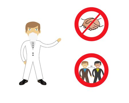 Doctor showing protection against coronavirus Covid-19. No handshake icon with red forbidden sign, avoiding physical contact and coronavirus infection. Forbidden handshake symbol concept. Vector illustration. Vektoros illusztráció