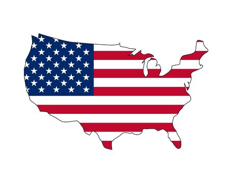 Vector illustration of waving American Flag on dark background. United States Flag with silhouette map of USA.