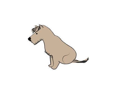 A lone dog looking at the ground. Vector illustration against a white background. Иллюстрация