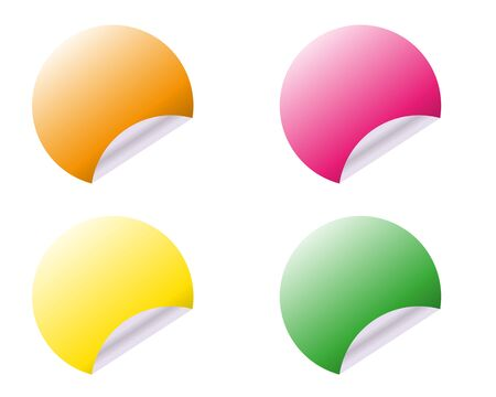 Circular adhesive labels of different colours on white background. Vector illustration. 向量圖像
