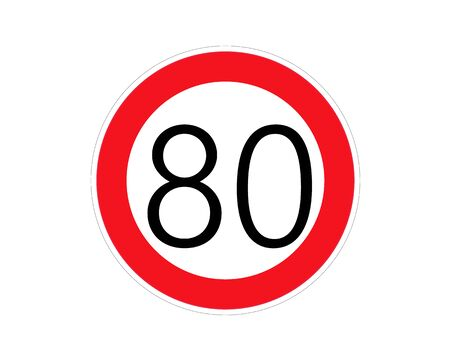 Speed limit sign number eighty. Round Red Road Sign: Speed limit 80 kilometers per hour. Vector Illustration.