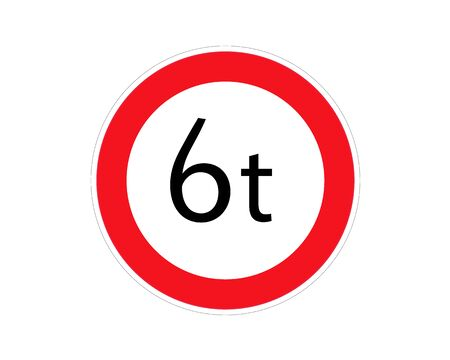 Road sign limitation 6 tons icon. Element of traffic signs icon for mobile concept and web apps. Thin line road sign limitation 6.5 tons icon can be used for web and mobile on white background Vektoros illusztráció