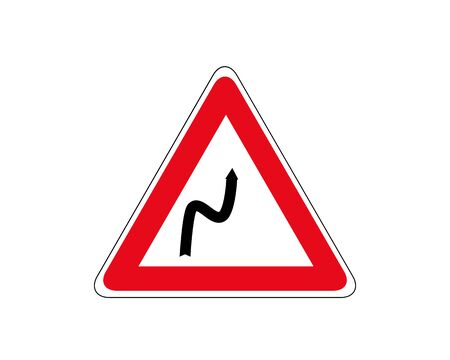 Road sign double turn, first right. Traffic sign, attention sharp turns vector.